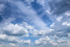 Bright contrast sky as background at day, summer season Royalty Free Stock Photo