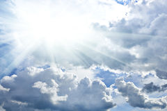 Bright contrast sky as background at day, summer season Royalty Free Stock Photos