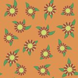 Bright contrasting floral with leaves orange colorful seamless pattern vector illustration