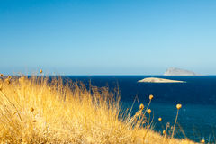 Bright contrasting views of the Aegean Sea. Royalty Free Stock Photography