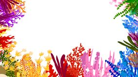 Bright coral and algae vector frame vector illustration