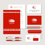 Fish and ornaments in ethnic style. The bright corporate identity with fish and ornaments in ethnic style. Samples of business cards, a flash card, a pen, an Royalty Free Stock Photography