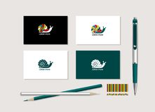 Bright snail. The bright corporate style with snail. Samples of business cards, a pen, a flash card, a pencil. Vector Vector Illustration
