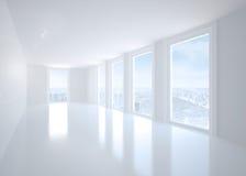 Bright corridor with windows Stock Photos