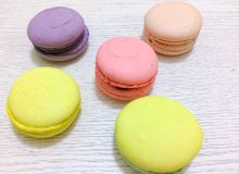 Bright couloured macaroons Stock Image