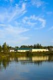 Bright country lake scenery. Stock Photos
