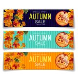 Bright coupons for autumnal sale promotion. Set of colorful realistic coupons in different colors advertising autumn sale with 25 percent discount stock illustration