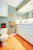 Bright cozy bathroom with white wood cabinets Stock Images
