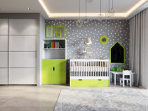 Bright and cozy children`s room in modern urban contemporary sty Royalty Free Stock Photo