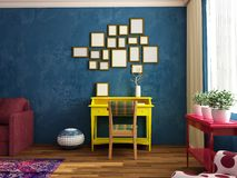 Bright, cozy, fashion contemporary siiting room with work place, sofa, armchair. Bright cozy unfashion retro sitting room in dark blue colors with yellow work Stock Images