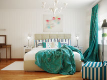 Bright and cozy modern bedroom interior design with white walls,. Turquoise curtains and blanket. 3d render Royalty Free Stock Photos