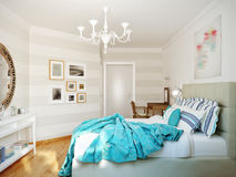 Bright and cozy modern bedroom interior design with white walls, Royalty Free Stock Image
