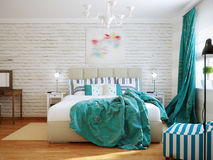 Bright and cozy modern bedroom interior design with white walls, turquoise curtains and blanket. 3d render royalty free stock image