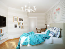Bright and cozy modern bedroom interior design with white walls, Stock Photography