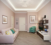 Bright and cozy room in modern style, home office, children`s Stock Photos