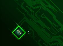 Bright CPU. Abstract electronic board and cpu background in dark-green tone Stock Photo