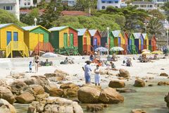 Bright Crayon-Colored Beach Huts at St James, False Bay on Indian Ocean, outside of Cape Town, South Africa Royalty Free Stock Image