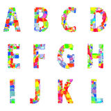 Bright creative cartoon comic alphabet Vector illustration. EPS Royalty Free Stock Images