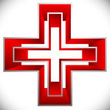 Bright cross as healthcare, first aid icon or logo Stock Photo