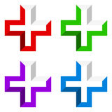 Bright cross as healthcare, first aid icon or logo Royalty Free Stock Photo