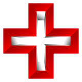 Bright cross as healthcare, first aid icon or logo Royalty Free Stock Image