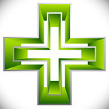 Bright cross as healthcare, first aid icon or logo Royalty Free Stock Photography