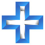 Bright cross as healthcare, first aid icon or logo Royalty Free Stock Images