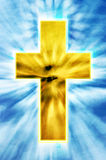 Bright cross on heaven. A beautiful shining golden Christian cross in heaven with rays of light Stock Photos