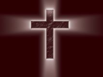Bright Cross with light rays. A dark red cross with light rays shooting from 4 points royalty free illustration