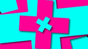 Bright cross shapes, cartoon style backdrop, computer generated modern abstract background, 3d render stock illustration
