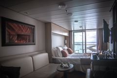 Bright cruise ship luxury room with balcony view Royalty Free Stock Photos