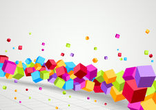 Bright Cubes fly perspective background Royalty Free Stock Photos