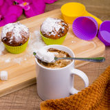 Bright Cupcake with icing sugar and chocolate Royalty Free Stock Images