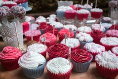Bright cupcakes with pink and white frosting at a banquet. A range of bright tasty cupcakes at reception, raspberry and vanilla Royalty Free Stock Image