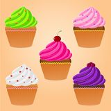 Bright Cupcakes. Vector illustration. Bright Cupcakes Set Stock Photography