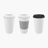 Bright cups of coffee. Template vector cup of coffee in a realistic style. Vector illustration of white cups for coffee on tap Royalty Free Stock Images