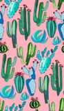 Bright cute beautiful abstract lovely mexican tropical floral herbal summer green cactus paint like child on pink background vecto Stock Image
