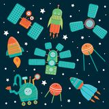 Vector set of space technics for children. royalty free illustration