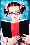 Bright Cute Girl Studying Education Textbook Stock Image