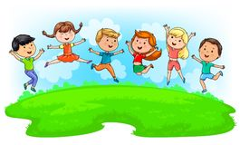 Cute kids jumping on green meadow and blue sky Stock Image