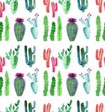 Bright cute wonderful mexican tropical floral summer green pattern of a colorful cactus with flowers vertical pattern like child p Royalty Free Stock Photo