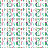 Bright cute wonderful mexican tropical floral summer green pattern of a colorful cactus with flowers vertical pattern like child p. Aint watercolor hand sketch royalty free illustration