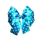 Bright cyan bow with white polka dots made from silk Stock Photos