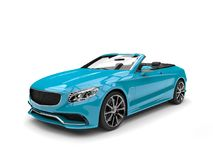 Bright cyan modern convertible luxury car. Isolated on white background vector illustration