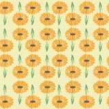 Bright daisy garden print repeating seamless pattern royalty free illustration