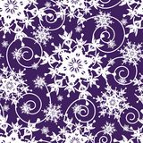 Bright dark blue seamless pattern with snowflakes Stock Photo