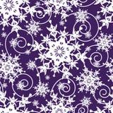 Bright dark blue seamless pattern with snowflakes Stock Photo