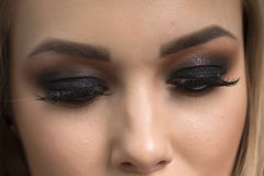 Bright, dark makeup on a girl Royalty Free Stock Images