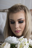 Bright, dark makeup on a girl Stock Photos