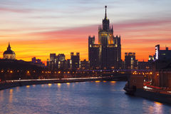 Bright dawn over Moscow. Russia Stock Images